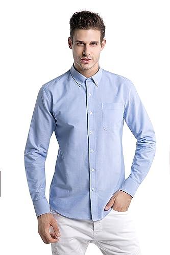 Z.KANG Men's Long-Sleeve Regular Fit Solid Button Down Collar Dress Shirt (Medium)