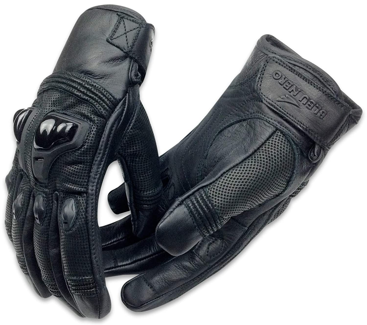 Genuine Leather Motorcycle Gloves Cowhide Biker Riding Hard Knuckle Gloves Mens