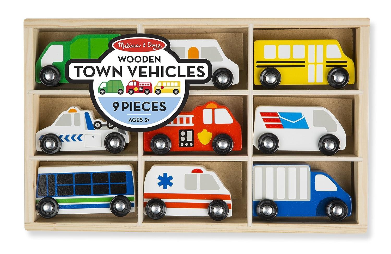 Amazon.com: Melissa & Doug Wooden Town Vehicles Set in Wooden Tray ...