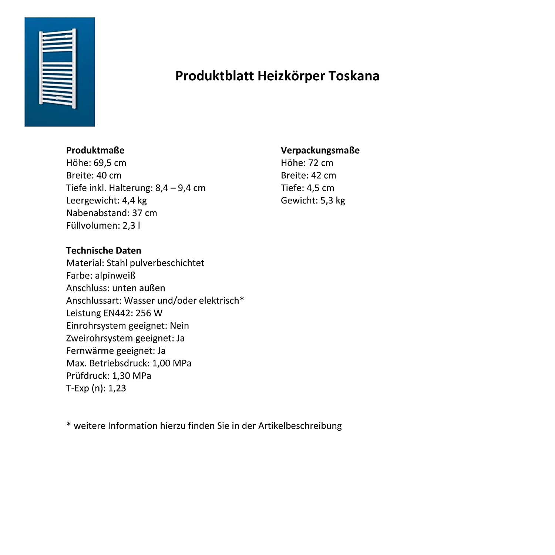 Handtuchhalter-Funktion alpin-wei/ß 886 Watt Leistung Bad-Heizk/örper Toskana 153x60 cm Der Renovierungsprofi Mittelanschluss