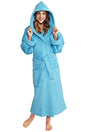 b4f52c3b84 TurkishTowels Parador Women s Big and Tall Full Ankle Length Turkish Terry  Hooded Cotton Bath Robe