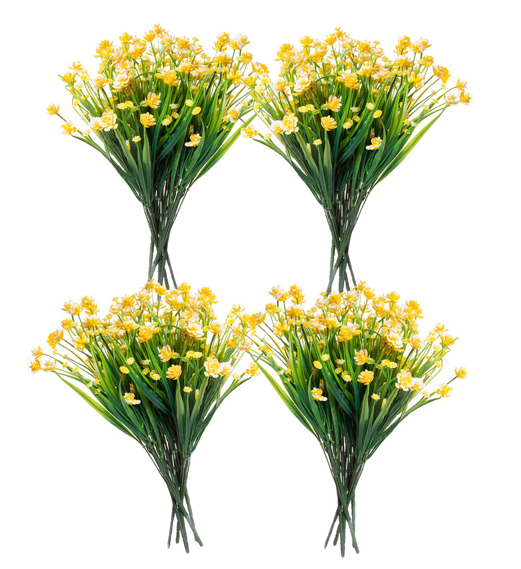 Red Co. Faux Floral Bouquet, Artificial Fake Greenery Flowers for Home and Outdoor Garden Decor, Set of 4 Bunches (6 Picks Each), Spring Yellow