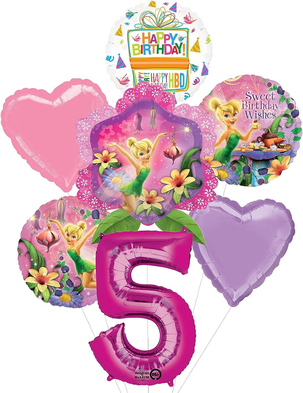 "Set of 5 Bouquet Belle Foil Mylar Balloon 34/"" Number Balloon Magenta Pink"