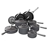 Ninja C39900 Foodi NeverStick Premium Hard-Anodized 16-Piece Cookware Set, slate grey