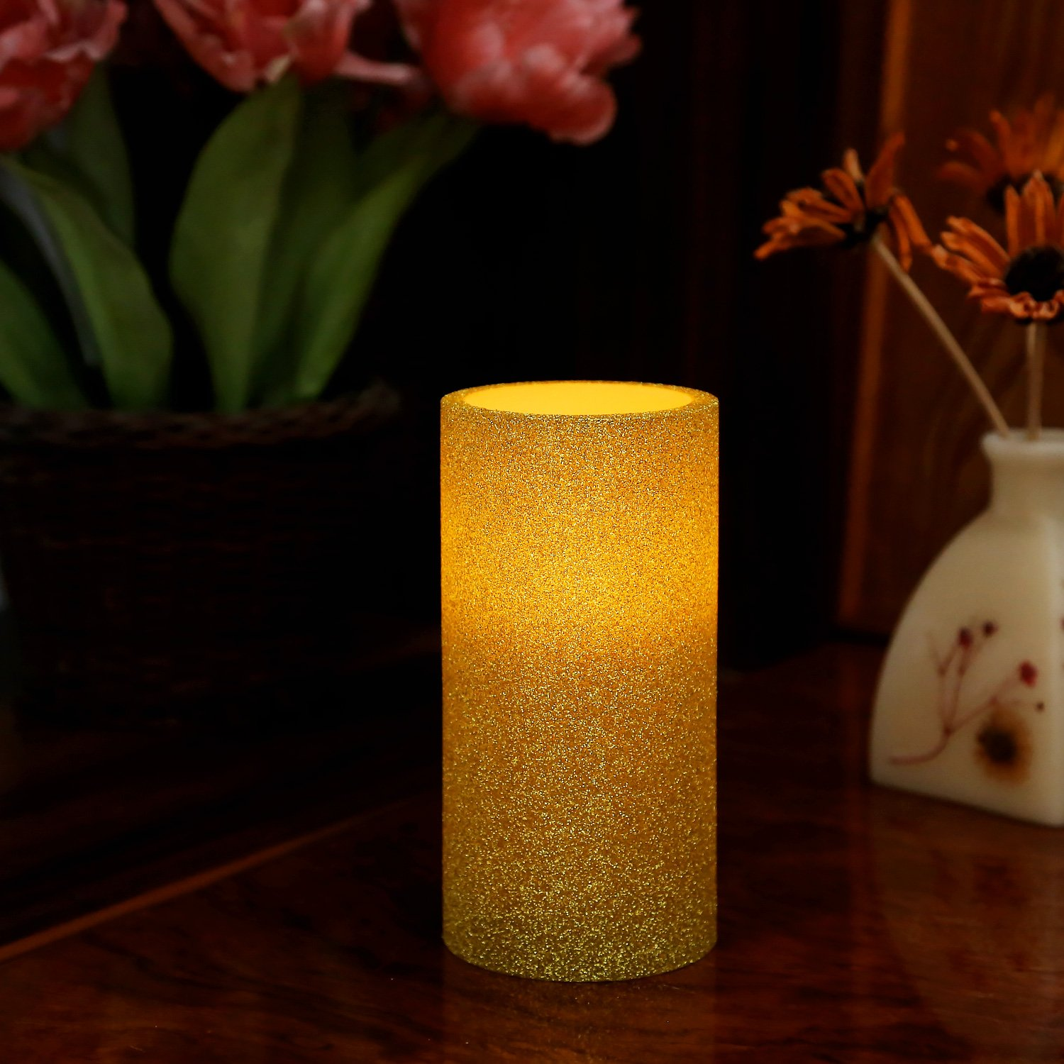 Greluna Gold Glitter Flameless LED Candle with Timer Battery Operated Candles for Holiday Decorations and Gift,3X6 inches