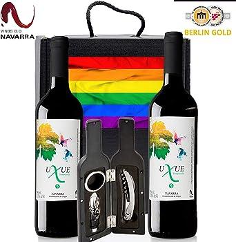 Caja Vino Tinto Regalo ORGULLO LGTB - Pack de 2 Botellas UXUE CRIANZA Edicion Limitada MEDALLA BERLIN 2015 + Kit Accesorios con Estuche – Ideal para regalar en Ocasiones Especiales.: Amazon.es: Alimentación y bebidas
