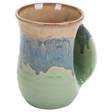 Clay in Motion Handwarmer Mug - Mountain Meadows - Right Handed,Blue,14oz.
