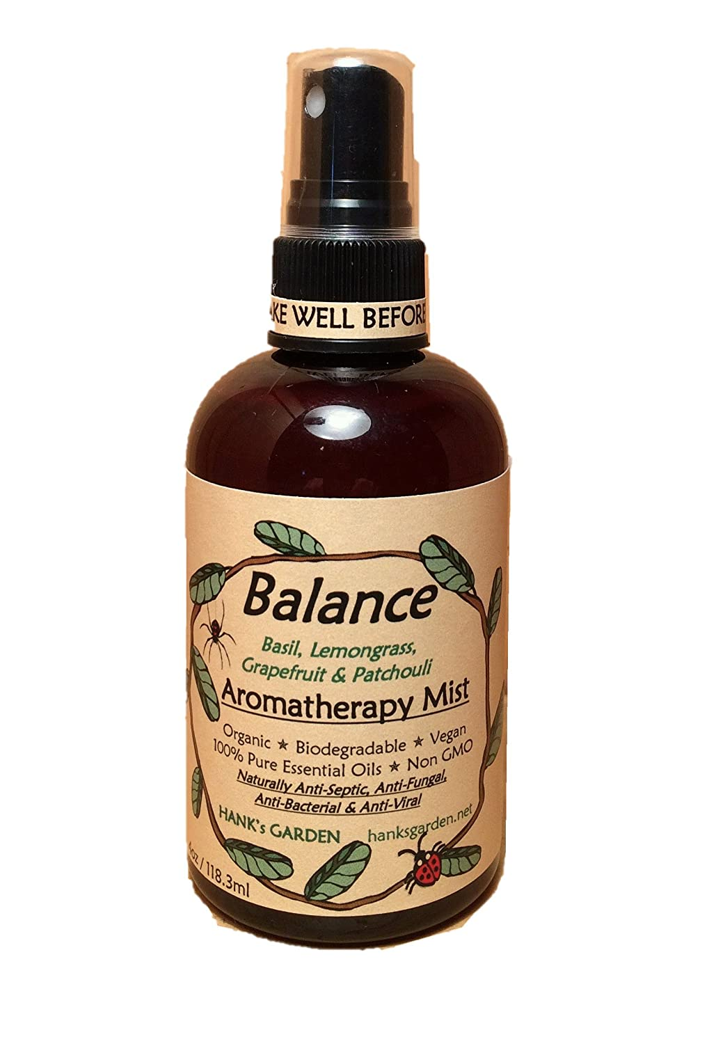 Balance Aromatherapy Body & Room Spray Mist - All Natural Earth Friendly, Vegan, Organic, Biodegradable, Non GMO - with Essential Oils of Basil, Lemongrass, Grapefruit & Patchouli (4 oz/118.3 ml) Hank's Garden