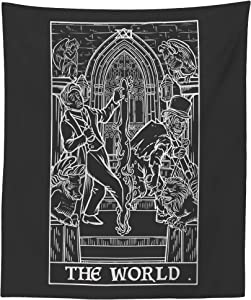 The World Tarot Card Tapestry (Black & White) - Dr Jekyll & Mr Hyde - Gothic Halloween Home Decor Wall Hanging (60