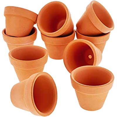 Juvale 10 Pack Terra Cotta Pots with Drainage Holes - 1.5 inches Mini Clay Flower Pots Perfect for Succulent Display, Cactus Nursery Planter, Indoor and Outdoor Plant: Home & Kitchen