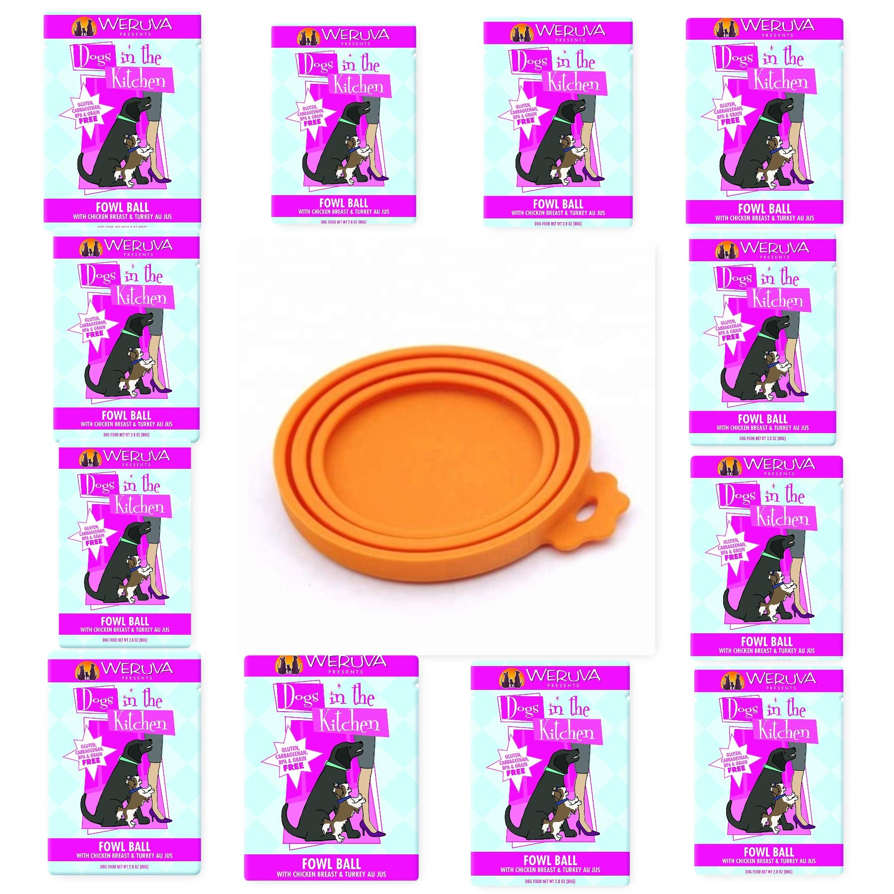 Weruva 12 Pack Dogs in The Kitchen, Fowl Ball with Chicken Breast & Turkey Au Jus Wet Dog Food 2.8oz Pouch, Plus a Silicone Cat/Dog Food Cover. - 13 Items Total.
