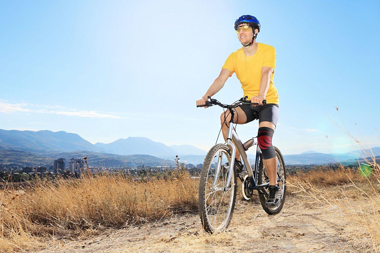 Camari Gear Sports soporte para rodilla Manguito de compresión (Single) - para correr, ciclismo, baloncesto, levantamiento de pesas, el alivio de dolor en las articulaciones, artritis, ruptura de meniscos, ACL - Rodillera
