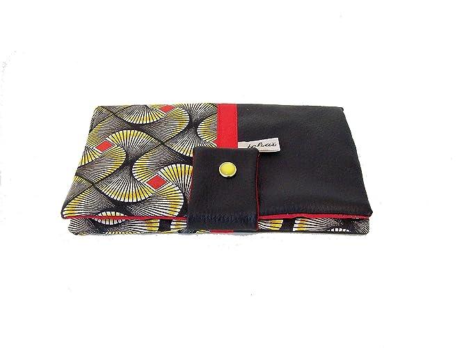 énorme réduction ad366 a5d28 portefeuille femme noir et wax bamako rouge, compagnon de sac en simili  cuir et tissu africain, porte monnaie tout en un style ethnique, cadeau  femme