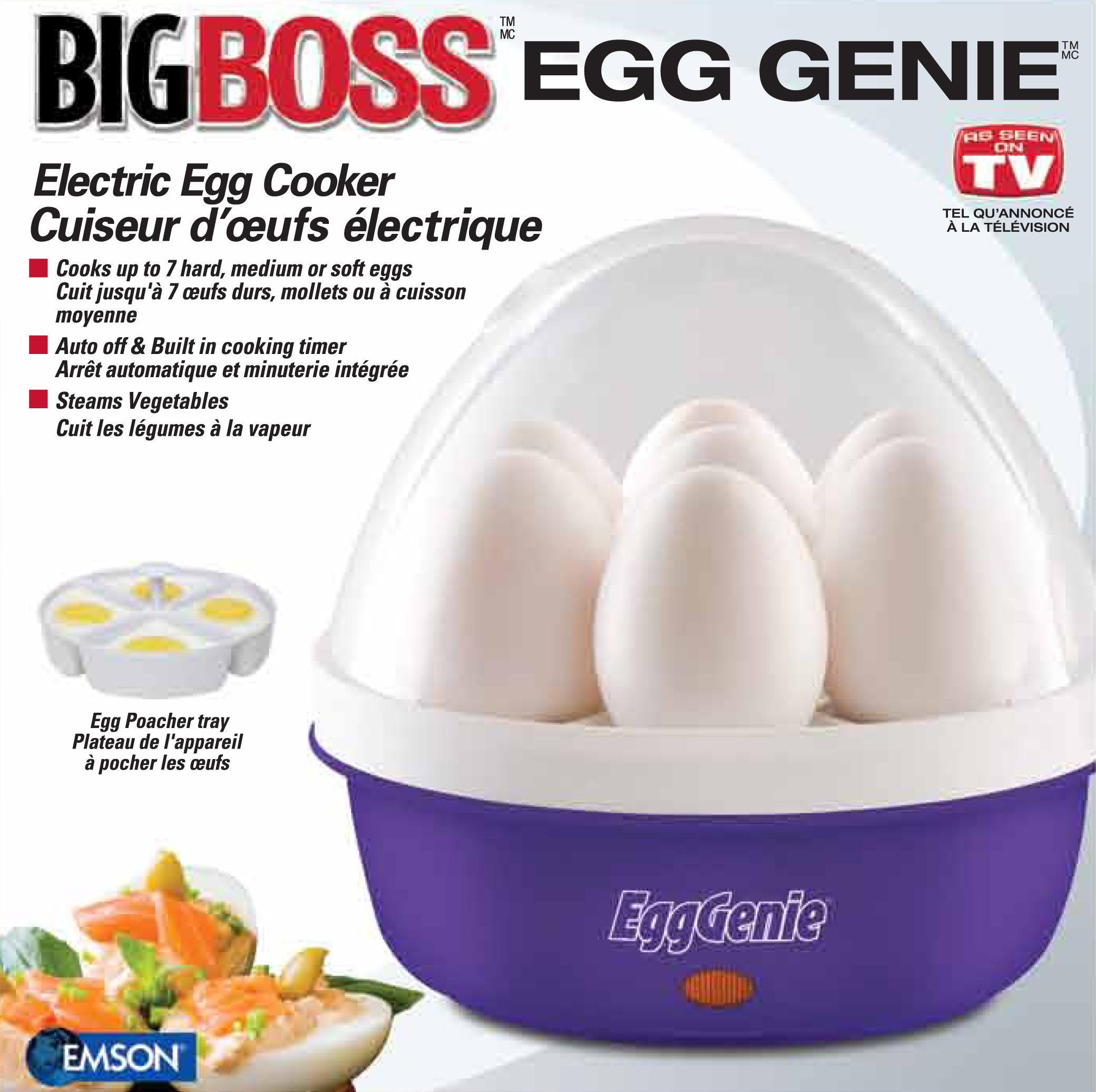 Big Boss BBEggGeniePR 8864 Genie Electric Egg Cooker, Purple, 1 by Big Boss (Image #1)