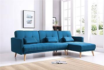 67a6f03df595d Bestmobilier - SCANDINAVE - Canapé d angle réversible Convertible -  267x151x88cm - Bleu