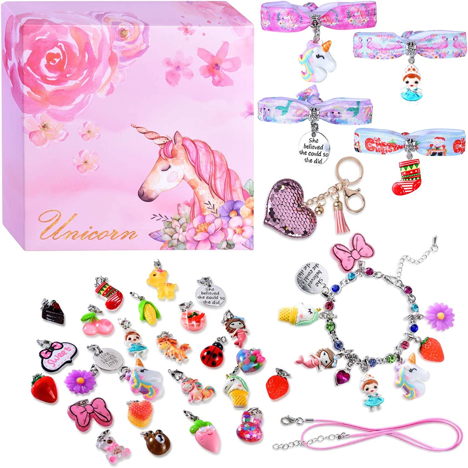 DIY Charm Bracelets for Girls, Girls Jewelry Link Chain Bracelet Necklace Keychain Hair Ties with 26 PCs Random Removable Charms for Kids Teen Girls Women