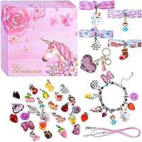 DIY Charm Bracelets for Girls, Girls Jewelry Link Chain Bracelet Necklace Keychain Hair Ties with 26 PCs Random…