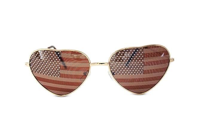 84eec86ebe699 Amazon.com  Heart Shaped American US Flag Stars   Stripes Sunglasses ...