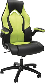 OFM ESS-3086-GRN High-Back Racing Style Bonded Leather Gaming Chair