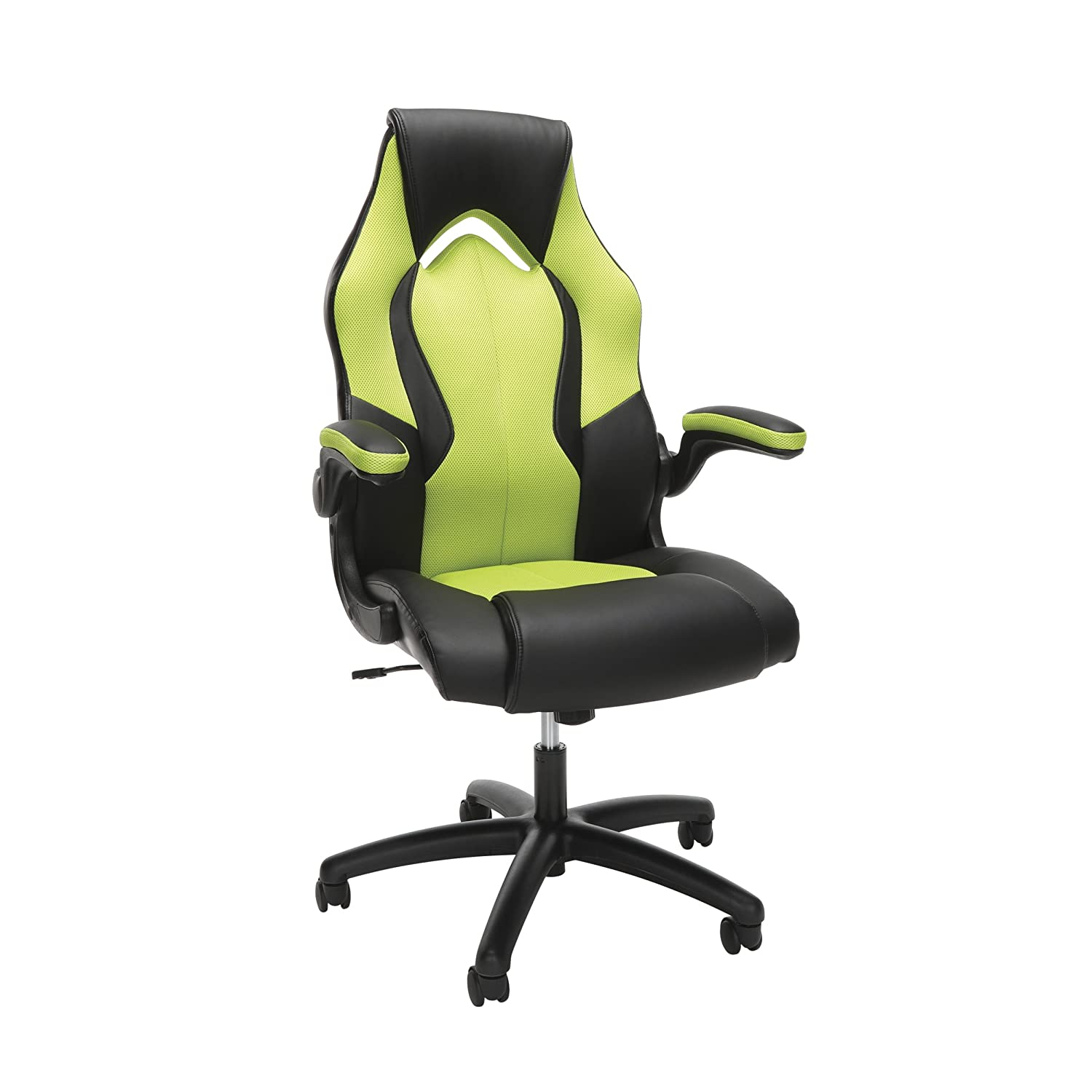 OFM Essentials Collection High-Back Racing Style Bonded Leather Gaming Chair, in Green ESS-3086-GRN