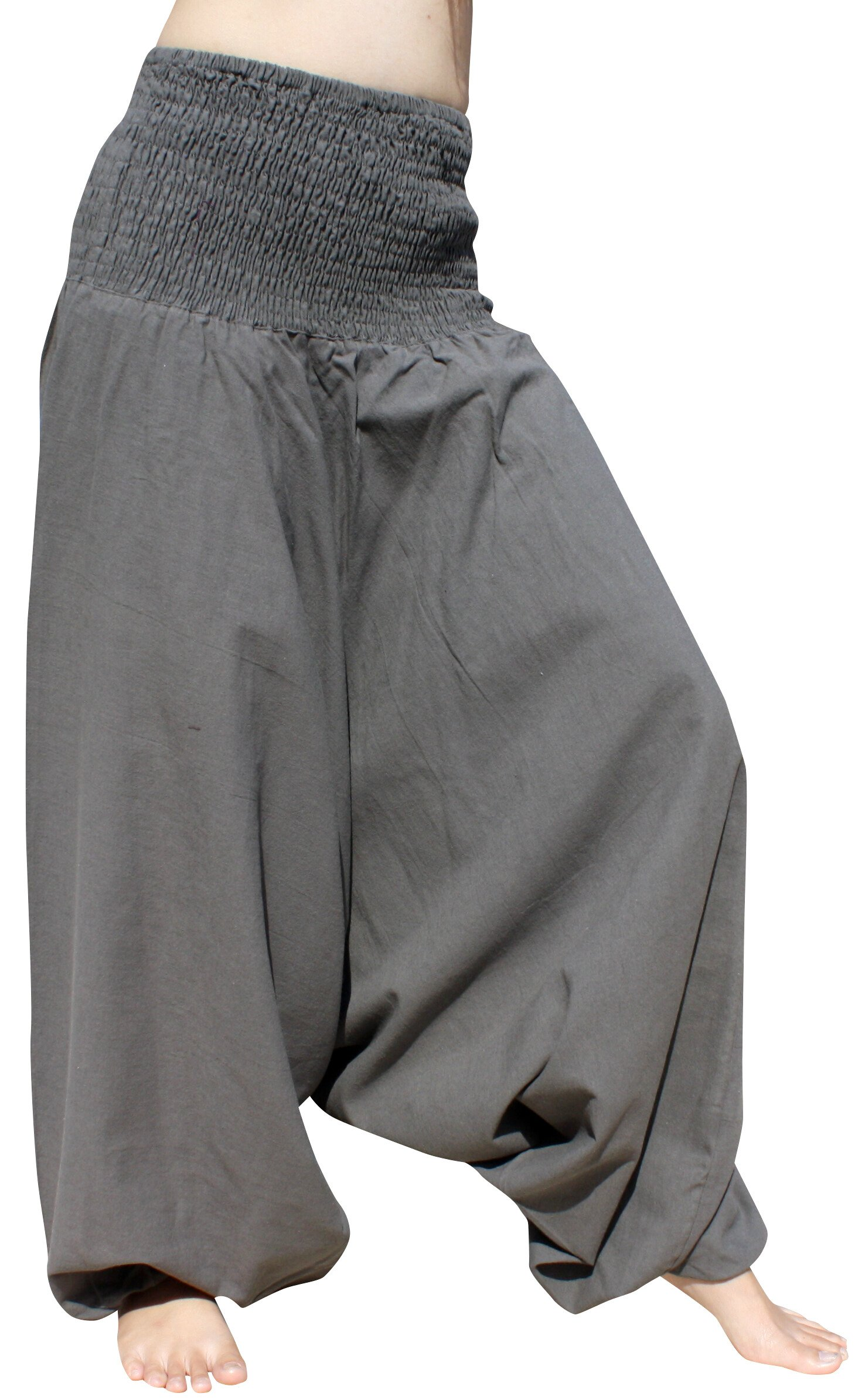 Raan Pah Muang Brand Light Summer Cotton Smock Top Harem Aladdin Pants, Large, Gray