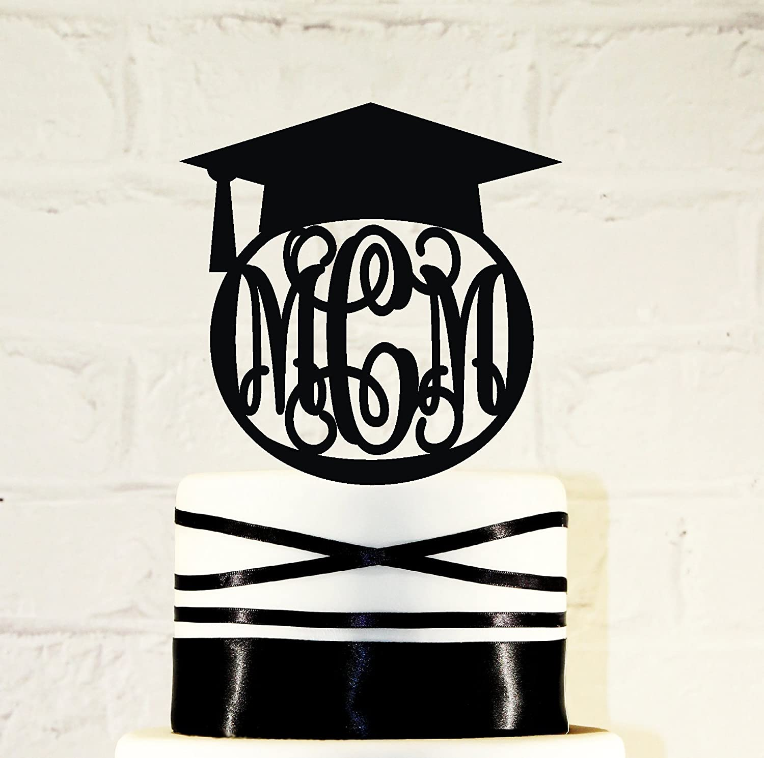Initials Graduation 2016 Personalized Cake Topper Graduation Party
