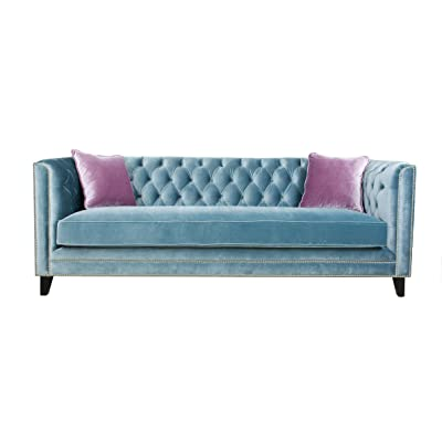 Pasargad Victoria Collection Velvet Sofa-Grey with accent pillows