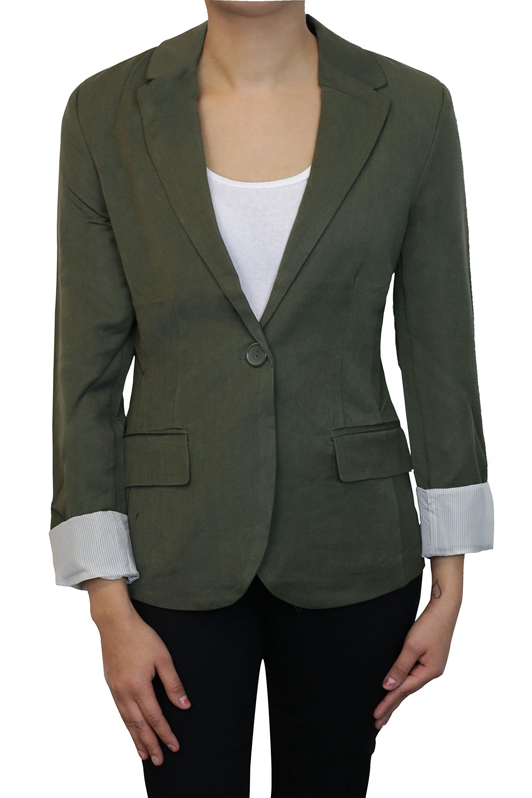 Instar Mode Women's Versatile Business Attire Blazers in Varies Styles (B22117 Olive, Medium)