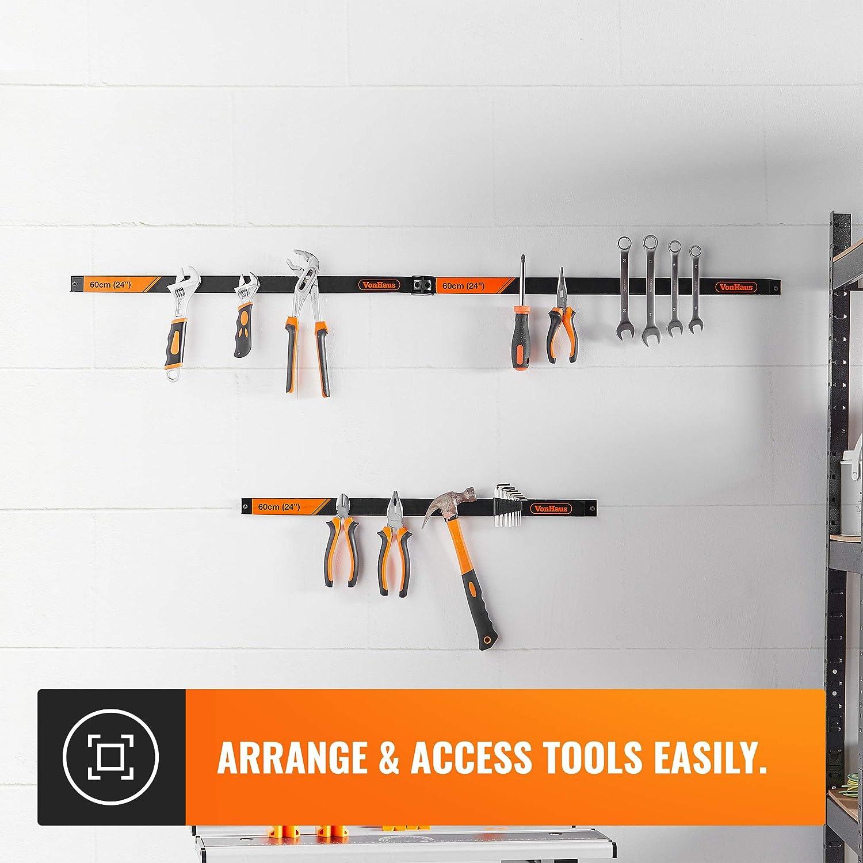 VonHaus Soporte magn/ético para herramientas 3 x 60 cm, incluye separadores extra/íbles, ahorro de espacio y resistente, montaje en pared