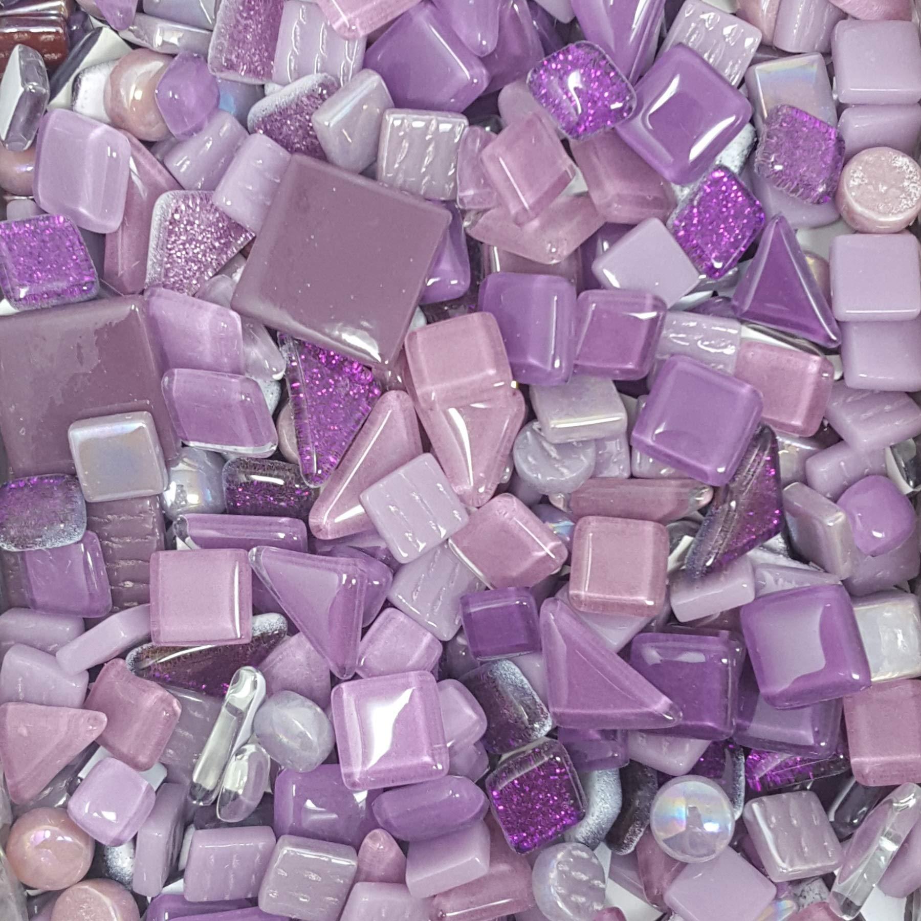3 Pounds Mosaic Glass & Ceramic Tiles - Premium Lots Bulk Mosaic Tiles Craft Supplies (Purples)