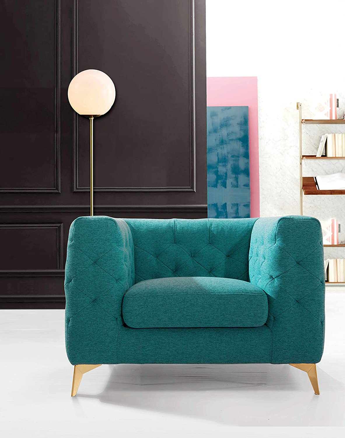 Iconic Home Soho Accent Club Chair Linen Textured Upholstery Plush Tufted Shelter Arm Solid Gold Tone Metal Legs Modern Transitional, GREEN