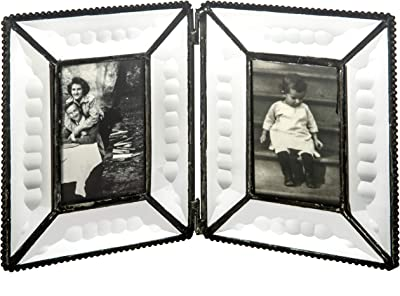 J Devlin Pic 100-2 Clear Beveled Glass Double Picture Frame Tabletop 2x3 Hinged Frame Holds Two School Photos