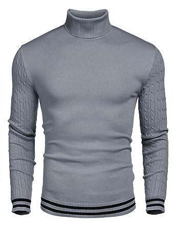 Wixens Herren Rollkragenpullover Feinstrick Strickpullover Herren Sweater Slim fit Langarm Pulli mit Rippstrick