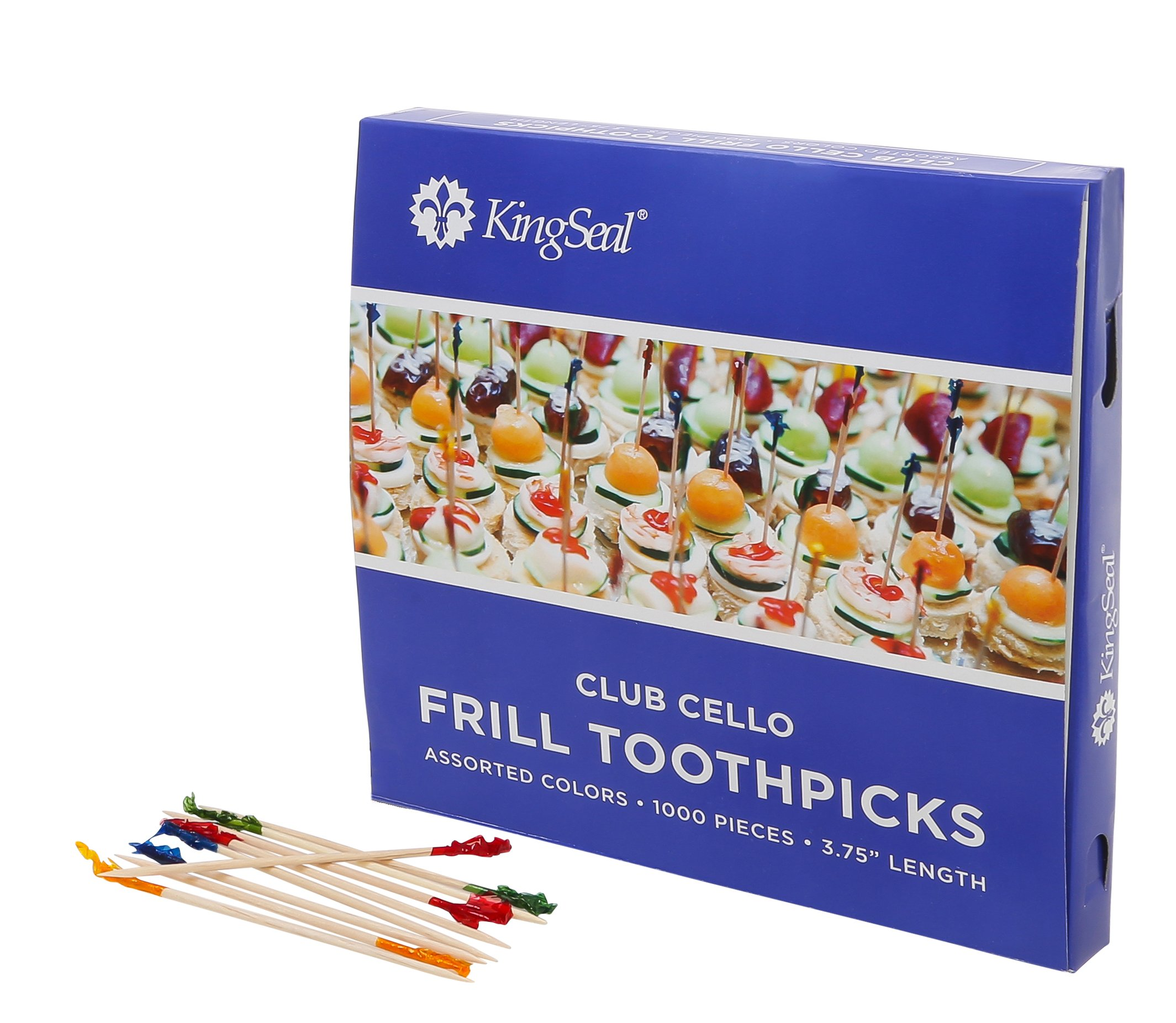 KingSeal Club Frill Sandwich Toothpicks, Assorted Colors, 3.75 Inch Length, Natural Birch Wood - 5 Pack/1000 per Pack by KingSeal