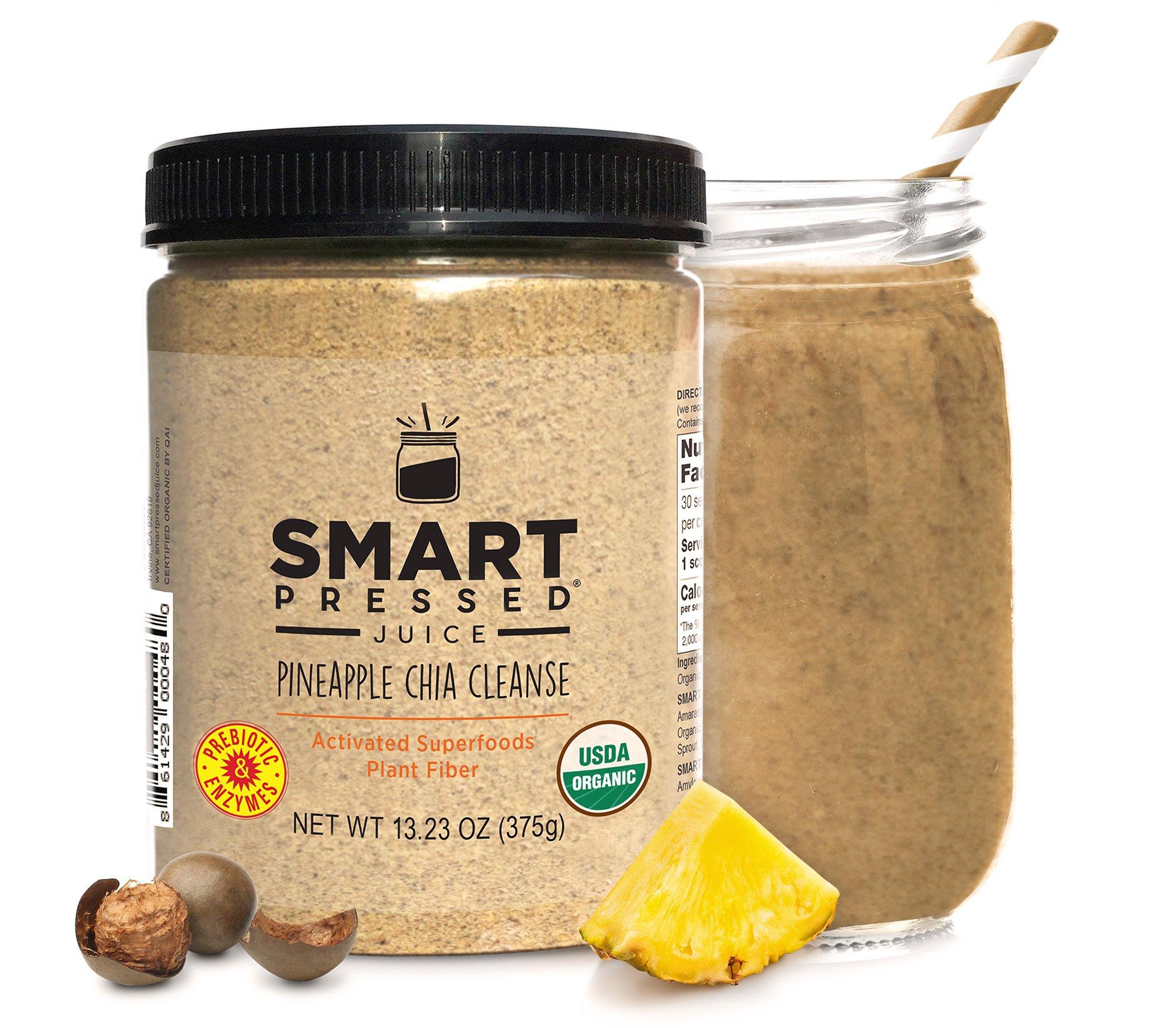 Smart Pressed Juice Pineapple Chia Cleanse Superfood Fiber Weight-Loss Digestive Enzymes Probiotics Prebiotics