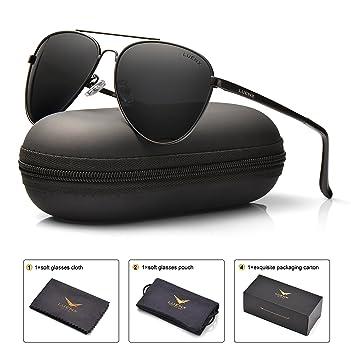 1b08e0308a LUENX Men Women Aviator Sunglasses Black Polarized Metal Frame UV 400 60MM