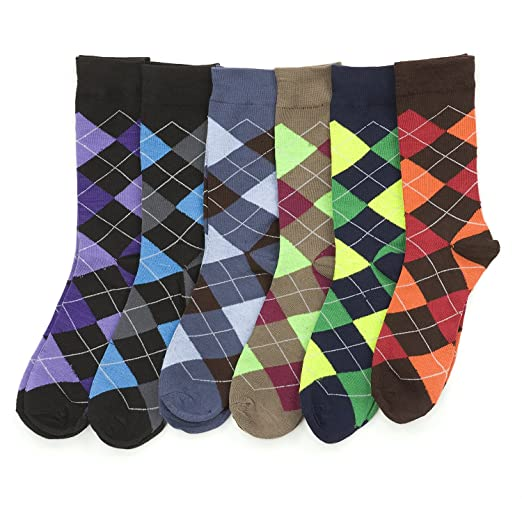 7e510511811e Image Unavailable. Image not available for. Color: 6 Pairs of excellent Mens  Bright Argyle Colorful Dress Socks ...