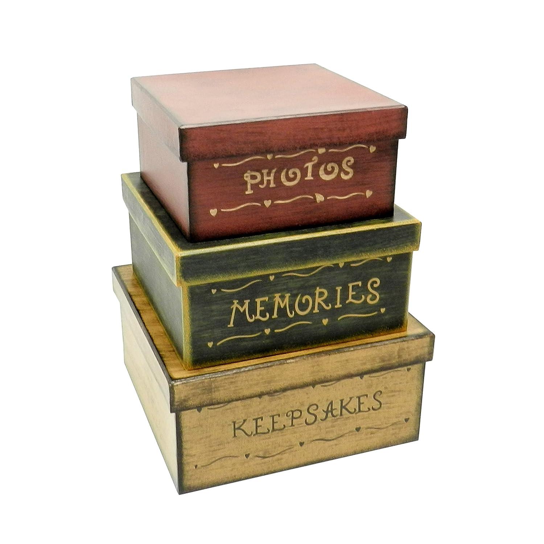 Primitiva Vintage cuadrado fotos, recuerdos, recuerdos cajas apilables cartón, 22,9 x 22,9 x H11,4 cm & 2 0, 3x 20,3x H10,2 cm & 17,8 x1 7,8 x H8,9 cm, ...