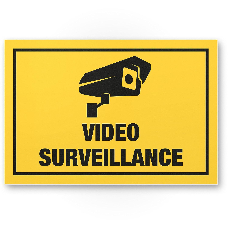Video Surveillance Panneau (Jaune, 30 x 20 cm) –  Panneau Attention/Attention vidé o surveillance –  Panneau d'avertissement/pictogramme vidé o via –  dessiné e/avertiss