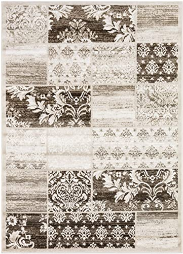 Princess Collection Geometric Patchwork Area Rug, 5 2 x 7 2 , 177 Brown Beige