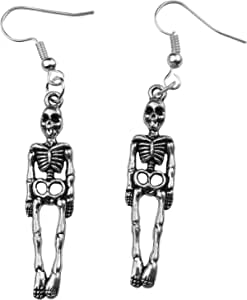 Art Attack Silvertone Skeleton Skull & Bones Halloween Holloween Costume Goth Dangle Earrings