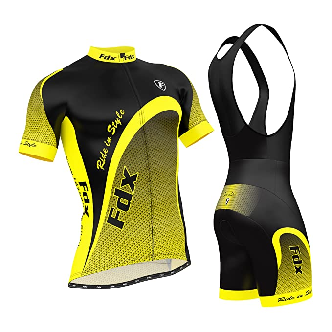 380245a06 FDX Mens Cycling Jersey Half Sleeve Top Racing Team Biking Top + Bib shorts  set  Amazon.co.uk  Sports   Outdoors