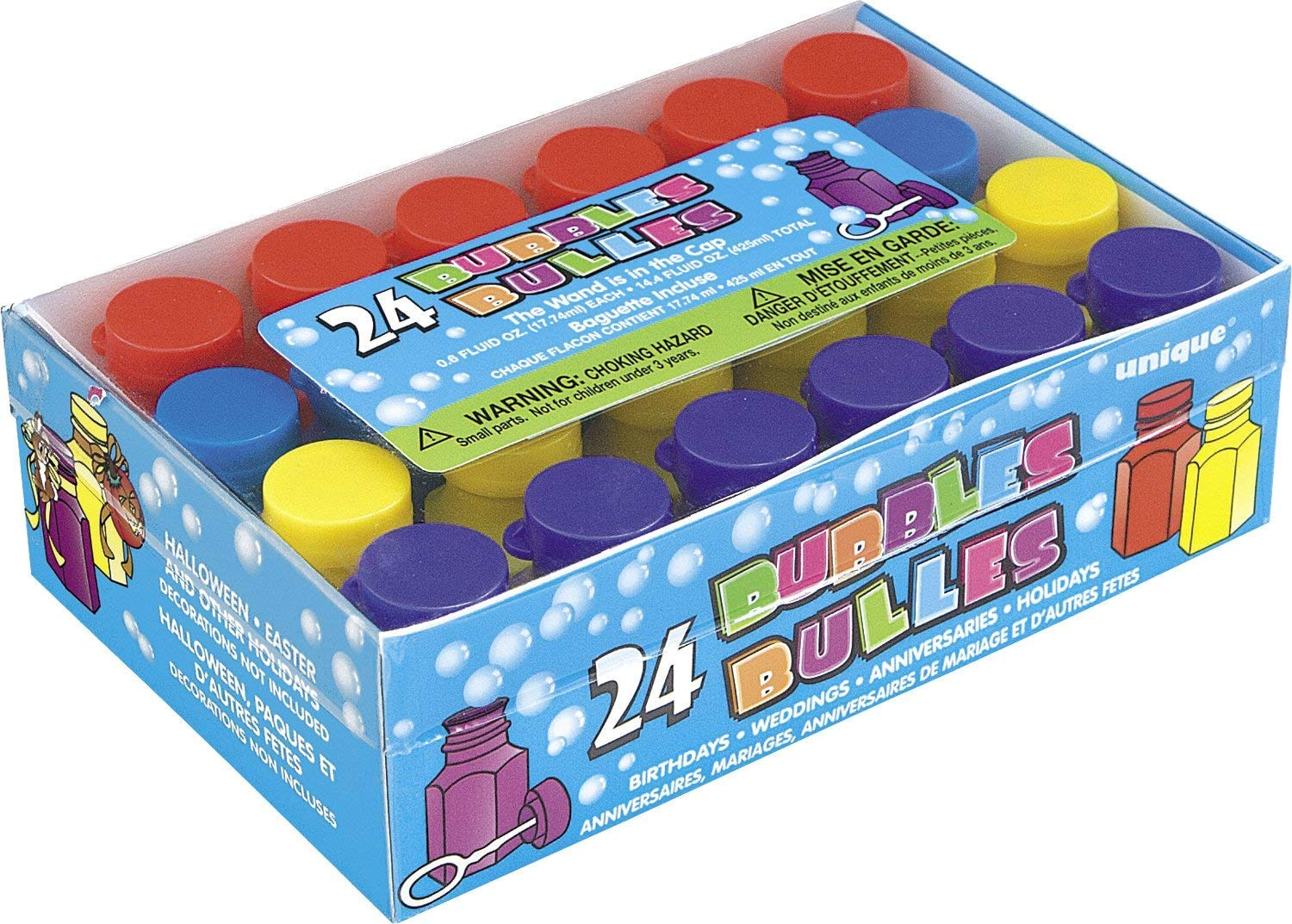 2X95233 - Mini Party Bubbles Party Bag Fillers, Pack of 24 Unique Party