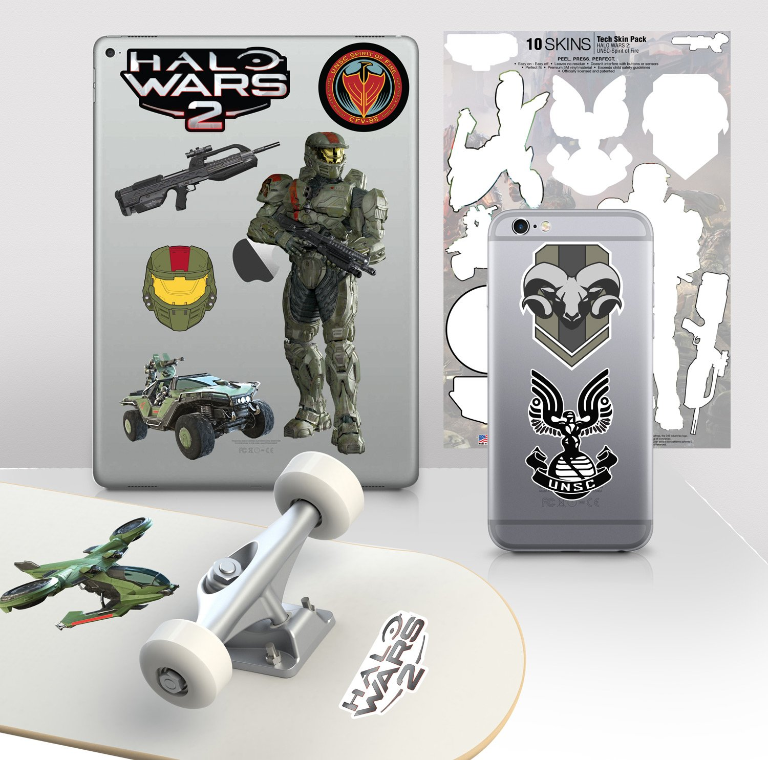 Controller Gear Halo Wars 2 - 7''x11'' UNSC-Spirit of Fire Decal Skin Pack - Officially Licensed - Xbox One