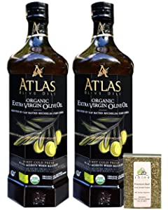 Atlas Olive Oils SARL, Moroccan Organic Extra Virgin Olive Oil, Imported from Morocco, (750 ml) 25.4 fl oz (Pack of 2) + Includes-Free Premium Basil Leaves from Rhino Fine Foods, .071 oz