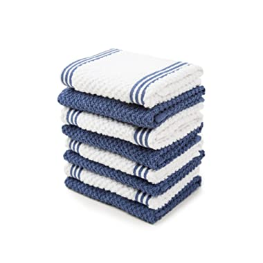 Sticky Toffee Cotton Terry Kitchen Dishcloth, Dark Blue, 8 Pack, 12 in x 12 in