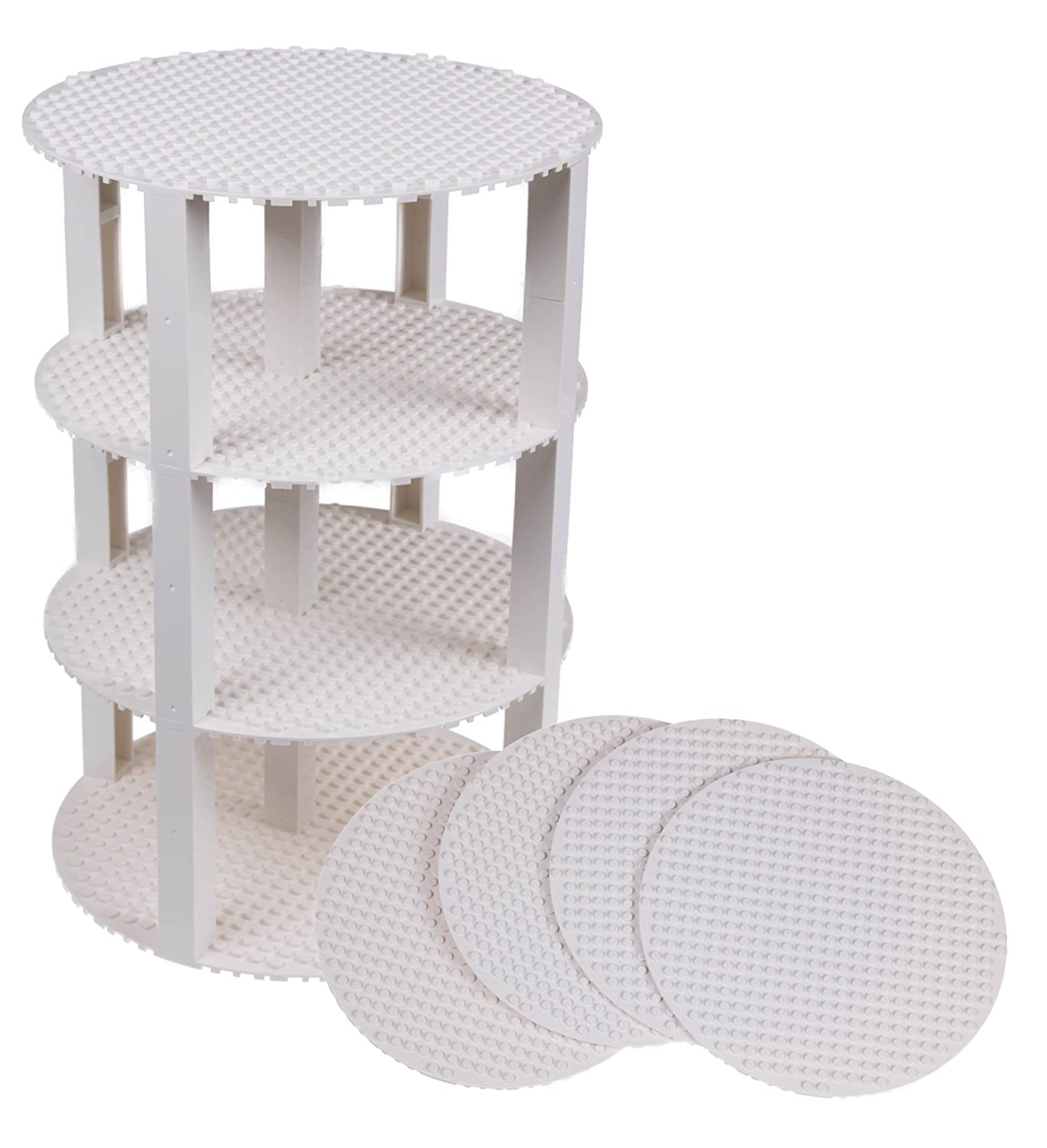 """Premium White 8"""" Circle Stackable Base Plates - 4 Pack Baseplate Bundle with 30 2x2 Stackers (New and Improved) - Compatible with All Major Brands"""