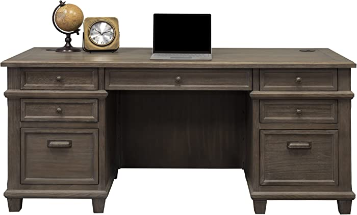 """Martin Furniture Double Pad Desk, 68"""", Weathered Dove"""