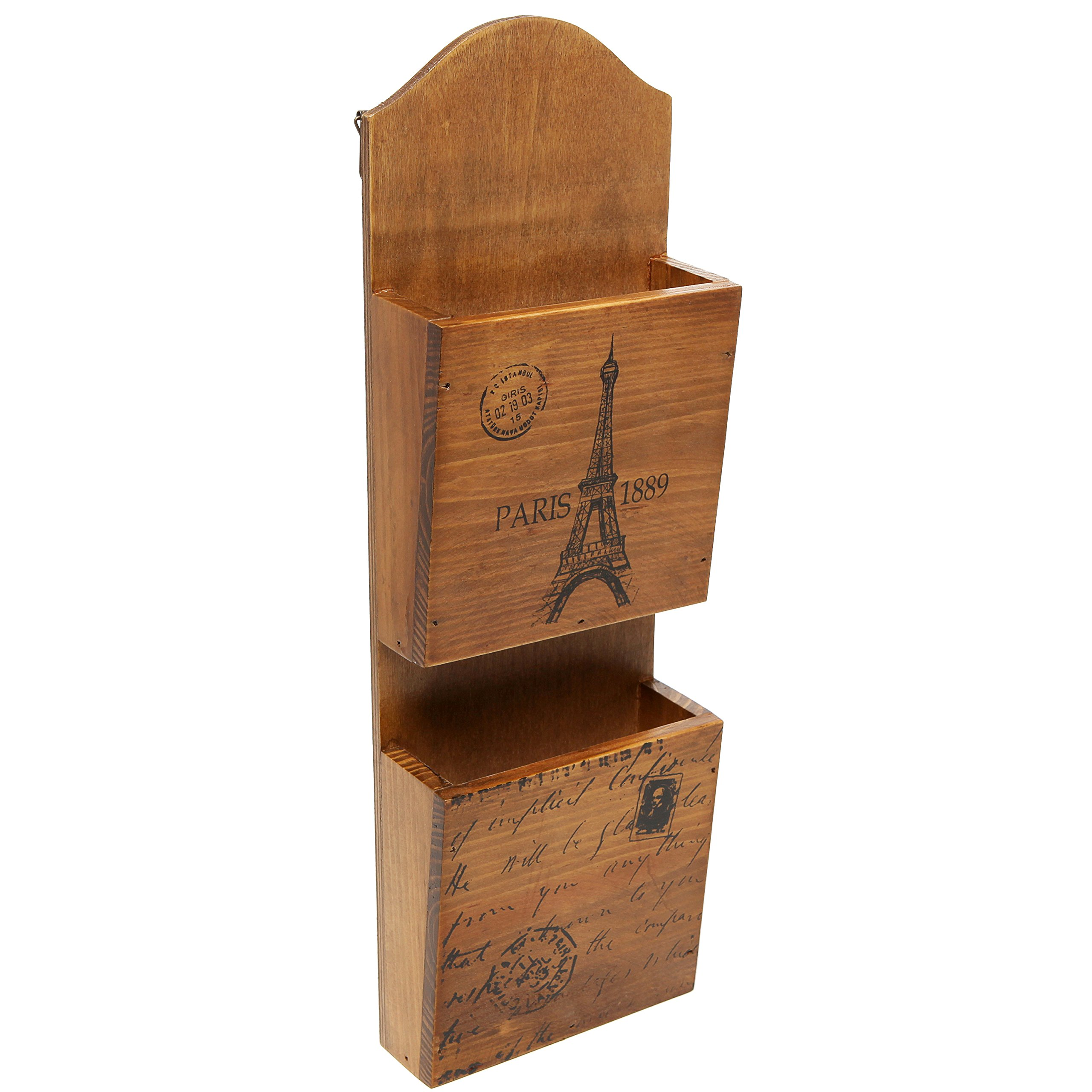 Classic Vintage French Paris Eiffel Tower Rustic Wood 2 Tier Hanging Mail Sorter Letter Organizer Holder