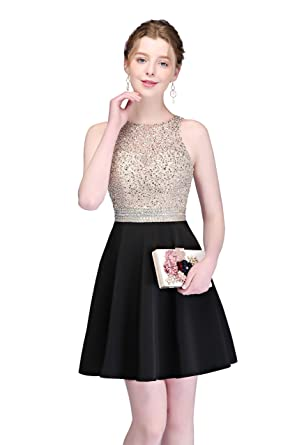 9151b1ee699bc MEILIS Women's Short Satin Beading Homecoming Dresses 2018 Junior Prom  Party Evening Gown